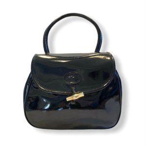 VTG Longchamp Purse Patent Leather Bamboo Toggle